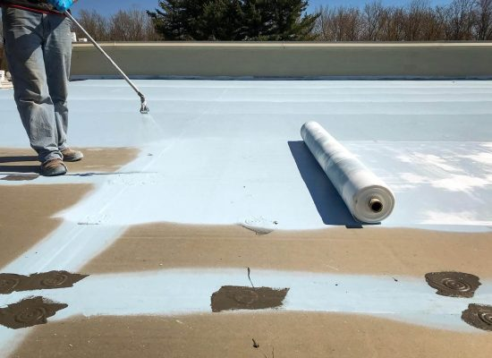 Install fabric and base coat on the entire roof area.