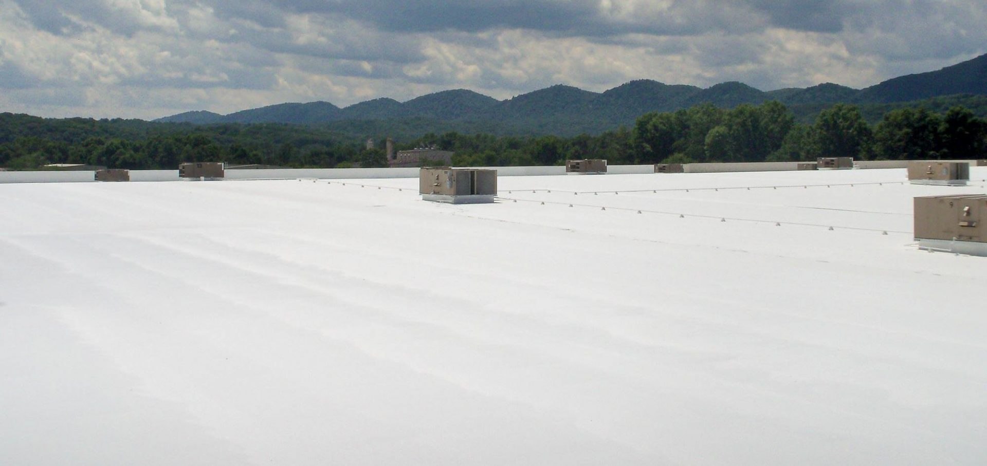 Top view of a fabric reinforced roofing