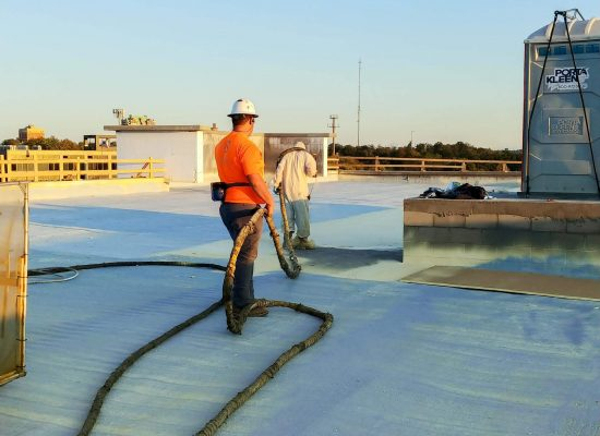 Apply closed cell, three pound polyurethane foam at approximately one inch thick to the entire roof area.