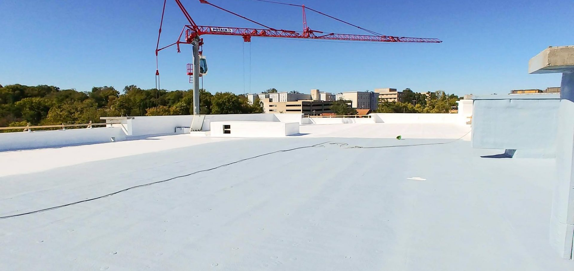 Top view of a newly applied Spray Foam Roofing Systems