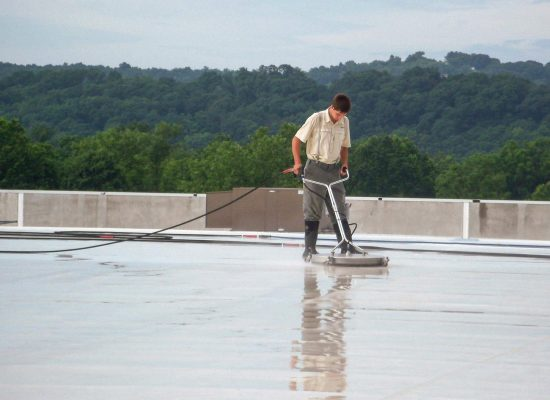 Wash roof with Wac II cleaner.